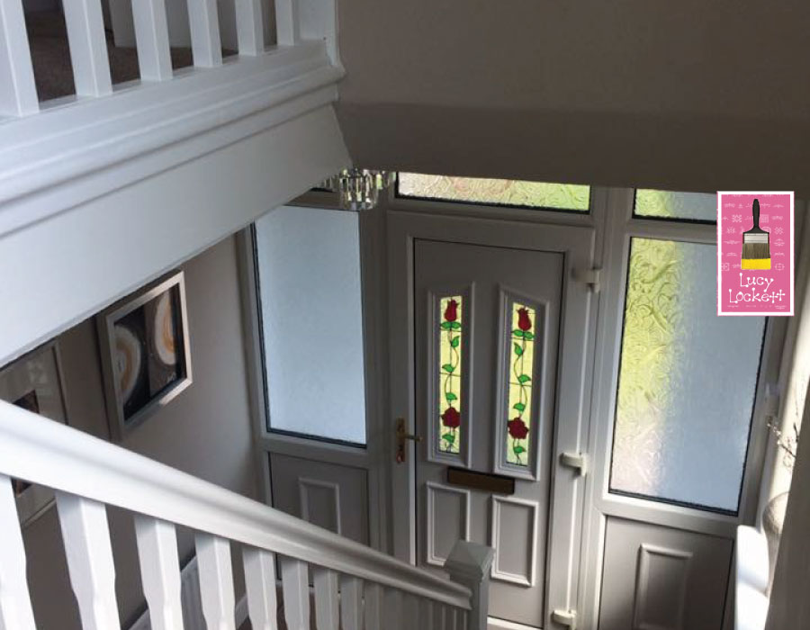 Hall stairs and landing freshly painter by Lucy Lockett Interior Design
